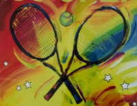 Tennis rackets with red/yellow background